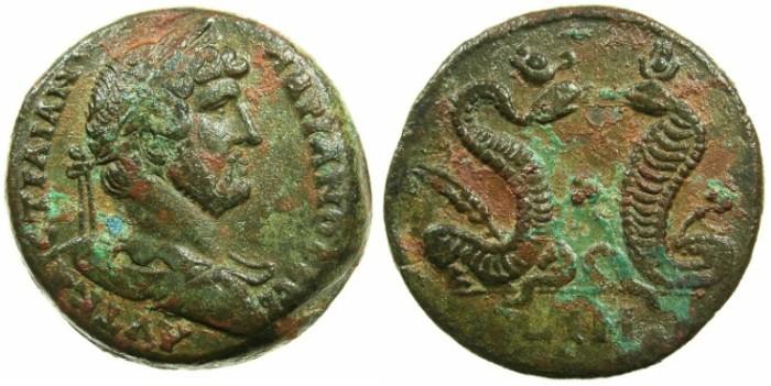 Ancient Coins - EGYPT.ALEXANDRIA.Hadrian AD 117-138.AE.Drachma, struck AD 133/134.~#~.The serpants Agathodaemon and Uracus