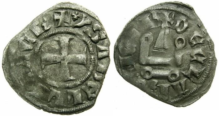 Ancient Coins - CRUSADER.Principality of ACHAIA.Isabella of Villehardouin AD 1289-1297.Bi.Denier.Type Y1