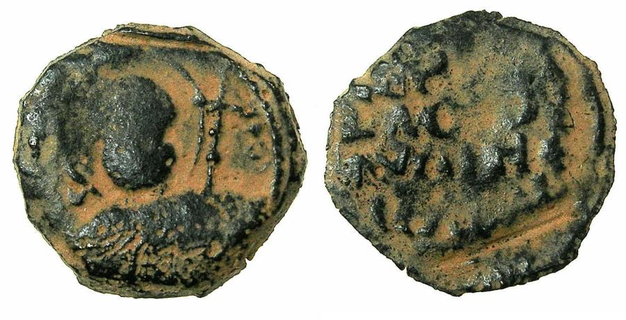 World Coins - CRUSADER STATES.Principality of ANTIOCH.Tancred AD 1104-1112.AE.Follis.1st type, small moduel.Bust of Saint Peter.