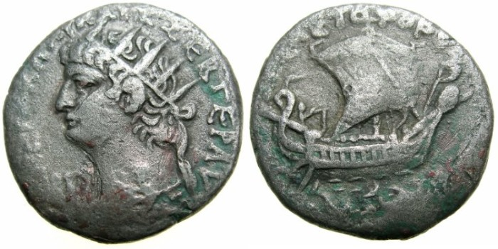 "Ancient Coins - EGYPT.ALEXANDRIA.Nero AD 54-68.Billon Tetradrachm.Struck 66/67 AD.~#~.""Sebastophorus, bringer of Caesar"" Galley with dolphins below."
