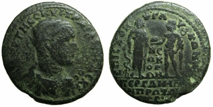 Ancient Coins - MYSIA.PERGAMON.Trajan Decius AD 249-251.AE.35mm.Asklepius and Hermes