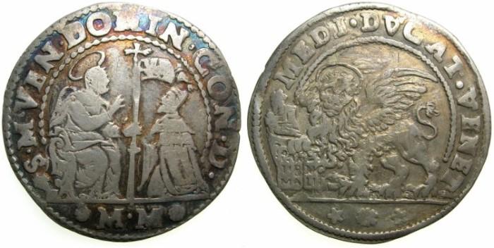 Ancient Coins - ITALY.VENICE.Domenico Contarini AD 1659-1675.AR.Mezzo Ducato.~#~Assayer Marin Molin or Marco Morosini.
