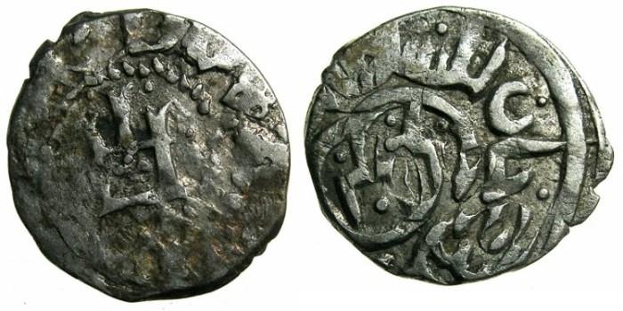 Ancient Coins - CRUSADER.CAFFA.Genoese colony.Filippo Maria Visconti AD 1421-1435 naming Ulugh Mohammed Khan AD 1427-1433.AR.Bi-lingual Asper.