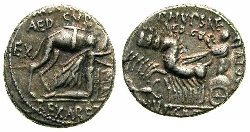Ancient Coins - ROME.REPUBLIC.M.Aemilius Scaurus P Plautius Hypsaeus 58 BC.AR.Denarius