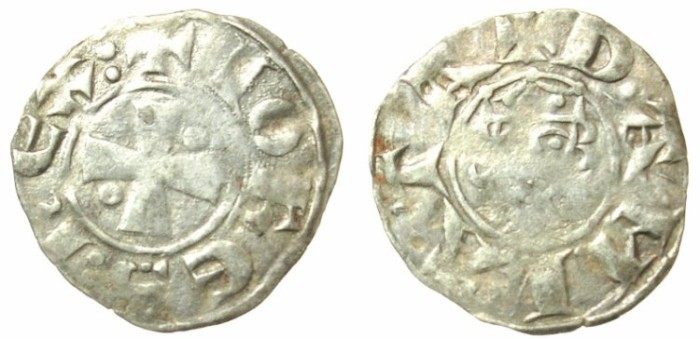 Ancient Coins - CRUSADER.JERUSALEM.John of Brienne 1210-1225.B.Denier.Acre mint?