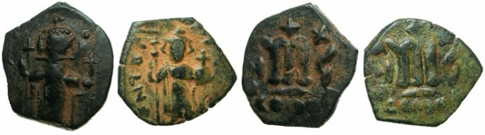 Ancient Coins - PSEUDO-BYZANTINE.7th cent AD.AE.Fals ( Follis ), after Constans II. Reverse die match.
