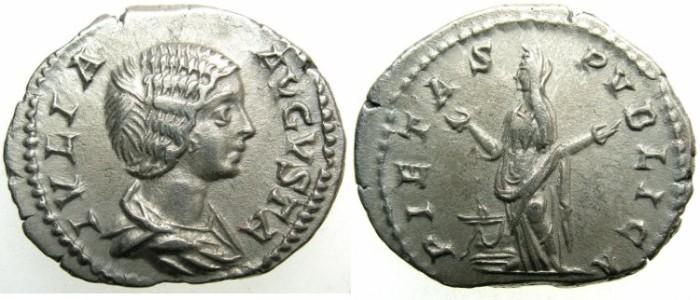 Ancient Coins - ROMAN.Julia Domna Augusta.AR.Denarius 2nd issue c.AD 196-211.~~~PIETAS.