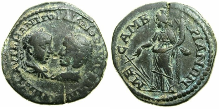 Ancient Coins - THRACE.MESEMBRIA.Gordian III and Tranquillina AD 241-244.AE.26.5mm.~#~.Tyche standing.