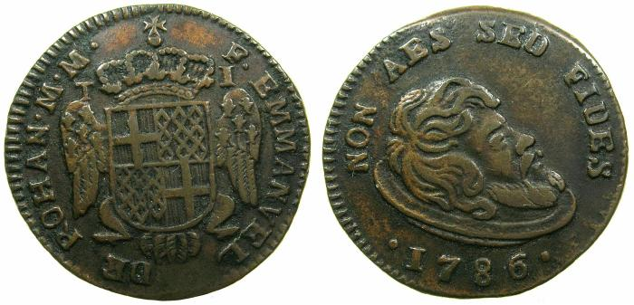 World Coins - MALTA.Emmanuel de Rohan 1775-1786.AE.1 Tari 1786