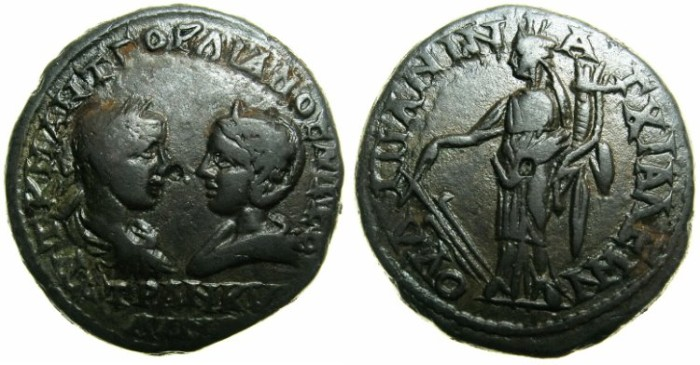 Ancient Coins - THRACE.ANCHIALUS.Gordian III AD 238-244 and Tranquillina from AD 241-244.AE.26.4mm.~#~Tyche ( fortuna ) standing holding rudder and cornucopiae.