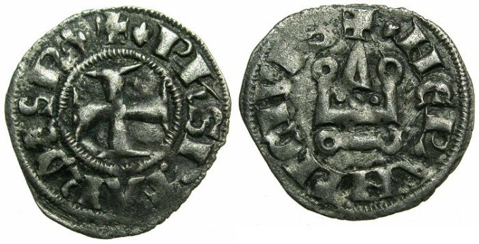 Ancient Coins - CRUSADE STATES.GREECE.Depotate of EPIRUS.Philip of Tarento AD 1294-1313.Billon Denier.Type 2a ii.