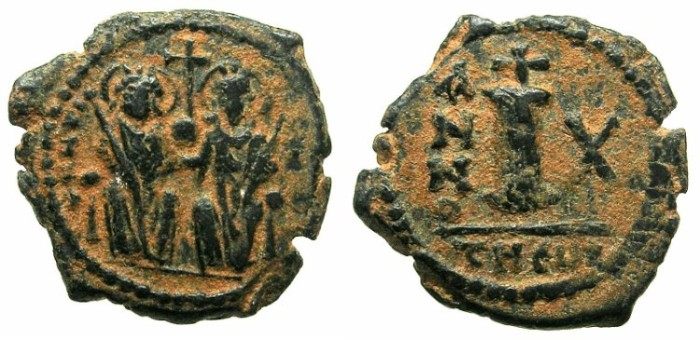 Ancient Coins - BYZANTINE EMPIRE.Justin II AD 565-578.AE.Decanummia.Year 10.Mint of THEOUPOLIS