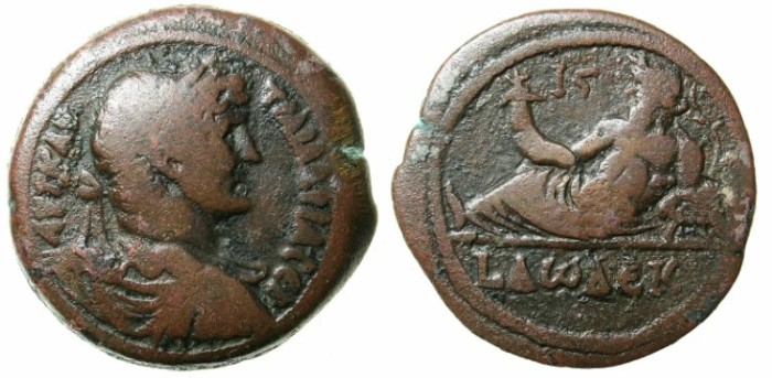 Ancient Coins - EGYPT.ALEXANDRIA.Hadrian AD 117-138.AE.Drachma.AD 127-128.~#~Nilus reclining on Hippopotamus~~~issue records the number of cubits the Nile rose