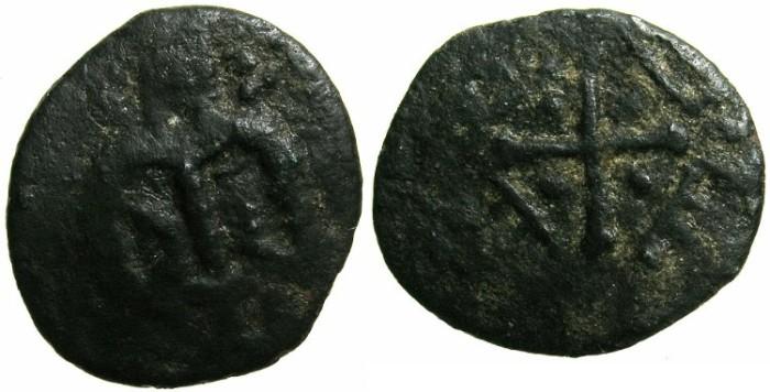 Ancient Coins - CRUSADER.RHODES, under GENOA.Circa 1298-1307.Anonymous Follaro.~~~Half length imperial figure~#~Paleologan emblem four B's