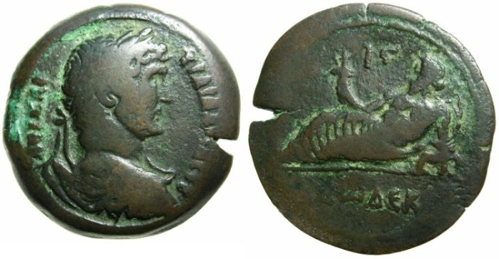 Ancient Coins - EGYPT.ALEXANDRIA.Hadrian AD 117-138.AE.Drachma.AD 127-128.~#~Nilus reclining on Sphinx~~~issue records the number of cubits the Nile rose