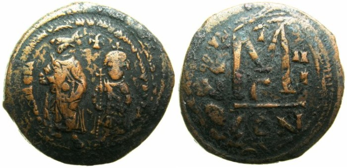 Ancient Coins - BYZANTINE EMPIRE.Heraclius AD 610-641 and Heraclius Constantine.AE.Follis AD 612/13.~~~CORONATION ISSUE OF HERACLIUS CONSTANTINE.