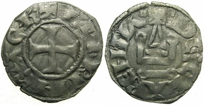 World Coins - CRUSADER STATES.Principality of ACHAIA.Charles I or II of Anjou AD 1278-1285-1289. Bi.Denier.Type KA 101.Mint of Clarentza.