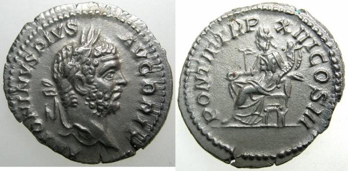 Ancient Coins - ROMAN.Caracalla Augustus AD 209-211.AR.Denarius AD 210.~~~AVGUSTUS BRIT~~~Concordia seated.
