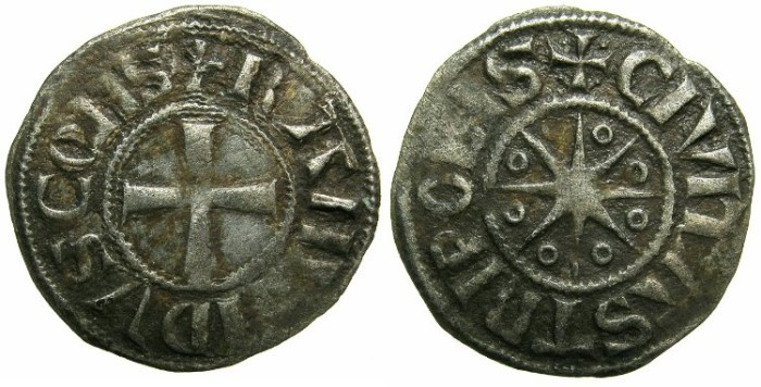 Ancient Coins - CRUSADER STATES.TRIPOLI.Raymond III AD 1152-1187.Billon Denier.Type 1a.~~~Four dots initial cross.