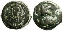 Ancient Coins - BYZANTINE EMPIRE.Constantine VII Porpyrogenitus AD 913-959.AE.19mm.Mint of CHERSON.~~~Facing bust of Constantine VII.~#~K above W