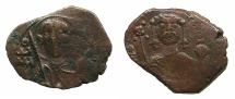 Ancient Coins - BYZANTINE EMPIRE.John II Comnenus AD 1118-1143.AE.Half Tetateron.Mint of THESSALONIKI.