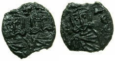 Ancient Coins - BYZANTINE EMPIRE.Constantine V AD 741-775 with associate Leo IV from AD 751.AE.Follis.Mint of SYRACUSE.
