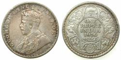 World Coins - INDIA.British Rule.George V 1910-1936.AR.One Rupee 1916 Bombay mint.