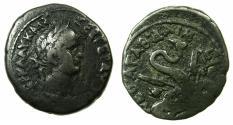 Ancient Coins - EGYPT.ALEXANDRIA.Nero AD 56-68.Billon Tetradrachm struck AD 56/57. Reverse. The snake Agathodaemon ( The good snake ).