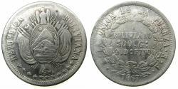 World Coins - BOLIVIA.REPUBLIC.AR.One Boliviano 1867 FE.