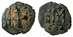 Ancient Coins - PSEUDO BYZANTINE.Imitative follis ( fals ) After Constans II AD 641-668. Type issued 655/6-656/7.after Mint of CONSTANTINOPLE.