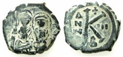 Ancient Coins - BYZANTINE EMPIRE.Justin II AD 565-578.AE. Half follis.struck AD567/8.Mint of CONSTANTINOPLE.