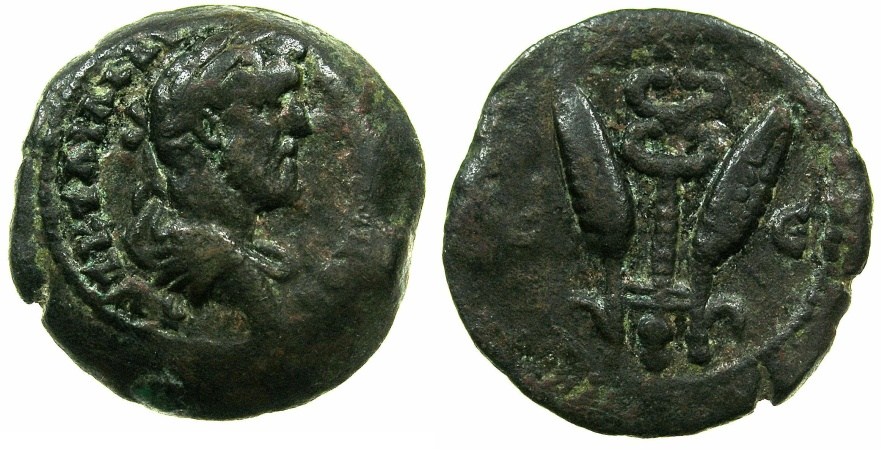 Ancient Coins - EGYPT.ALEXANDRIA.Antoninus Pius AD 138-161.AE.Diobol, struck AD 151/52.~#~.Caduceus between corn ears.