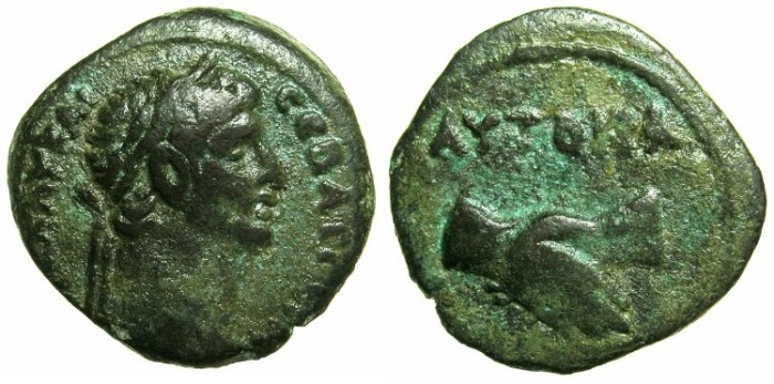 Ancient Coins - EGYPT.ALEXANDRIA.Claudius AD 41-54.AE.Obol, struck AD 49/50?~#~Clasped hands
