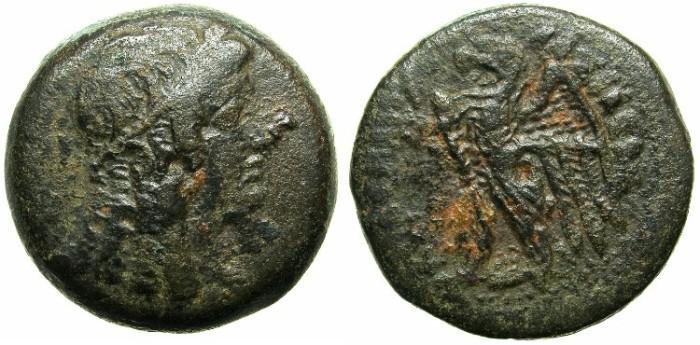 Ancient Coins - EGYPT.Ptolemy V Epiphanes 205-180 BC.AE.27.Mint of ALEXANDRIA.~~~Femal head (Isis).~#~Eagle.