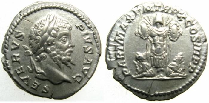 Ancient Coins - ROME.Septimius Severus AD 193-211.AR.Denarius AD 202.Trophy and two captives.