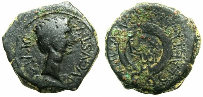 Ancient Coins - SPAIN.CARTHAGO NOVA.Augusts 27BC-AD14.AE.20mm.citing C.Laetilius and Ptolemy king of Mauretania