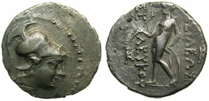 Ancient Coins - SYRIA.SELEUCID EMPIRE.Seleucus II 246-226 BC.AR.Drachma.Mint of ECTABANA.~~~Bust of ATHENA wearing Corithian helmet.~#~Apollo.+++EXTREMELY RARE+++.