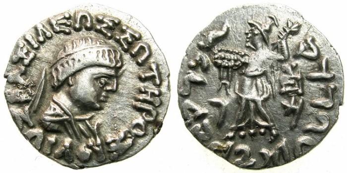 Ancient Coins - INDO GREEK.BAKTRIA.Zoilos II circa 50-40 BC.AR.Drachma.Bi-lingual issue.