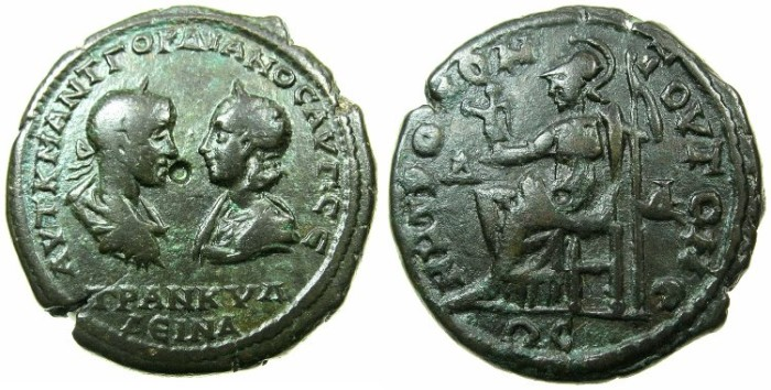 Ancient Coins - MOESIA INFERIOR.TOMIS.Gordian III and Tranquillina AD 241-244.AE.4 1/2Assaria.~#~.Athena or Roma seated.