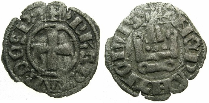 Ancient Coins - CRUSADER.EPIRUS.Philip of Tarento AD 1294-1313.Bi.Denier.Type 2a.ii.