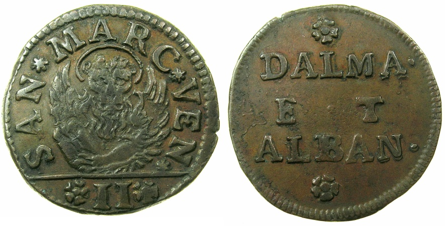 World Coins - ITALY.VENICE for DALMATIA AND ALBANIA.AE.Gazzetta ( 2 Soldi ).Issued 1684 and 1691.