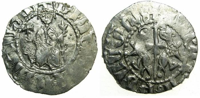 Ancient Coins - CILICIAN ARMENIA.Levon I AD 1199-1219.AR.Tram.~~~Jewel on shoulder.