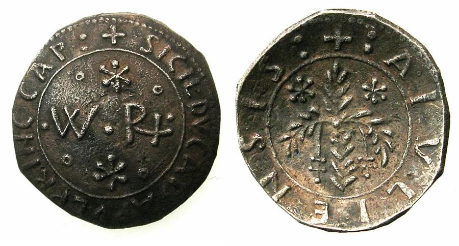 World Coins - SICILY.PALERMO.William II AD 1166-1189.AR.'Scyphate' Apuliensis. ***First Norman silver coin to be struck at the mint of PALERMO.***