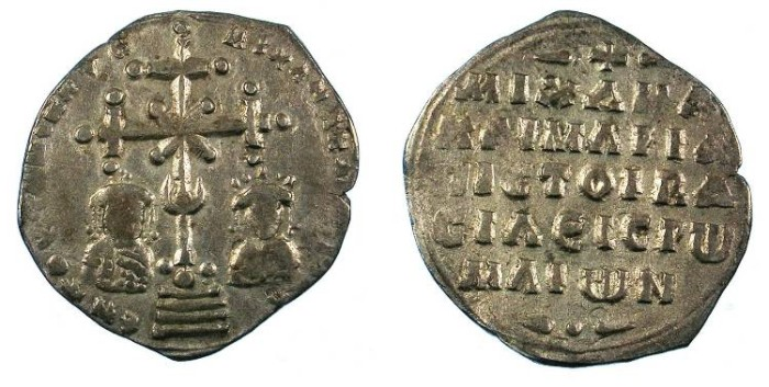 Ancient Coins - BYZANTINE EMPIRE.Michael VII Ducas  AD 1071- 1078.AR.Milliaresion.Constantinople mint.