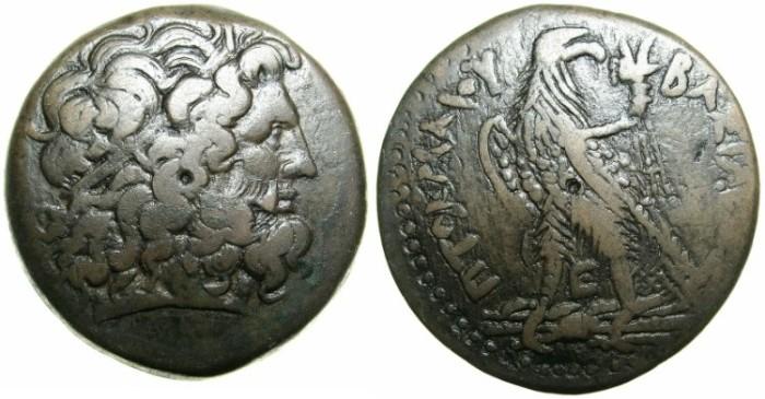 Ancient Coins - PTOLEMAIC EMPIRE.EGYPT.ALEXANDRIA.Ptolemy III Euergetes I 246-221 BC.AE.Drachma.~~~Zeus Ammon~#~Eagle.