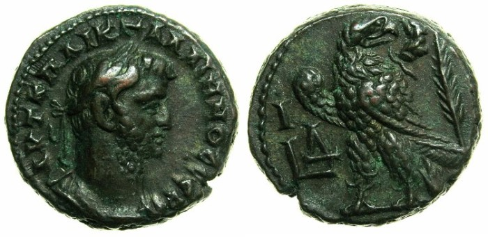 Ancient Coins - EGYPT.ALEXANDRIA.Gallienus AD 253-268.Billon Tetradrachm, struck AD 266/267.~#~Eagle, palm branch behind.
