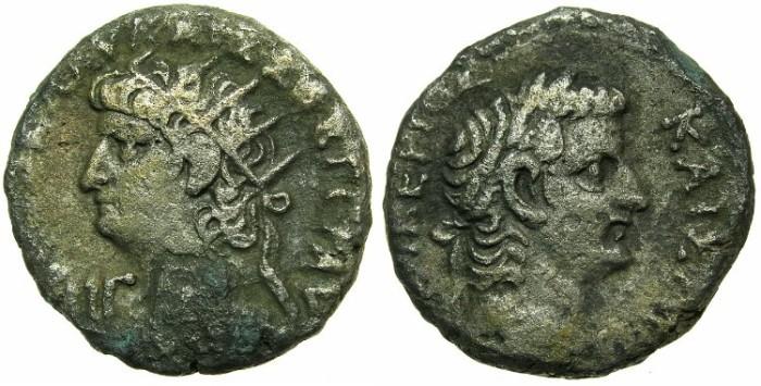 Ancient Coins - EGYPT.ALEXANDRIA. Nero AD 54-68 Bi.Tetradrachm. struck AD 66-67.~#~ laurate head of Tiberius