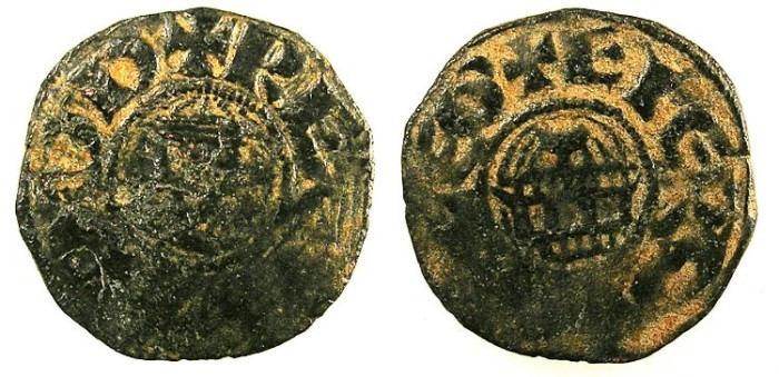 Ancient Coins - CYPRUS.Guy of Lusignan, Lord of CyprusAD 1192-1194..AE.Fraction.Facing bust.Rev.Rotunda of Holy Sepulchre