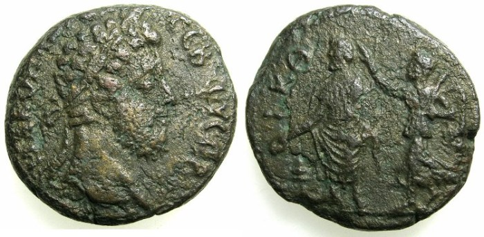 Ancient Coins - EGYPT.ALEXANDRIA.Commodus AD 180-192.Billon Tetradrachm, struck AD 188/189.~#~Nike crowning Emperor.
