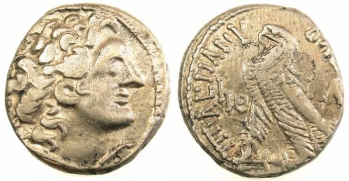 Ancient Coins - PTOLEMAIC EMPIRE.EGYPT.ALEXANDRIA.Ptolemy XII Neos Dionysios 80-51 BC.AR.Tetradrachm.63/62 BC